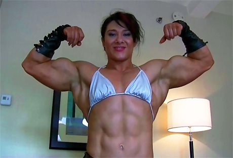 Truly huge ripped female bodybuilder posing and flexing from wonderful katie morgan