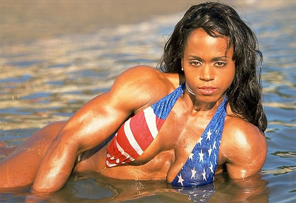 Kim Harris sexy posing on the beach